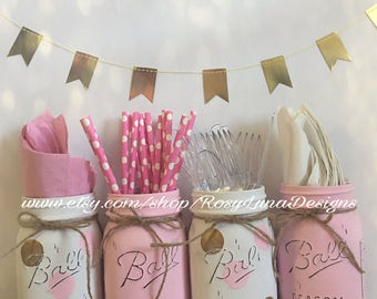 Pink and gold baby shower mason jars, gold polka dots, home decor, nursery decor, birthday centerpiece