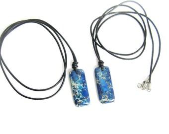 Mens jasper pendant, mens stone pendant leather necklace, mens jasper necklace, jasper pendant necklace, mens blue stone pendant