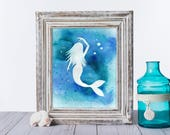 Saltwater Mermaid / Mermaid Art Print / Fine Art Print {Watercolor Print 8X10} -- FREE SHIPPING --