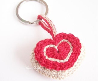 Crochet heart keychain, heart shaped key ring, crochet heart pincushions, red key fob, Mother's day gift, made in Italy key rings