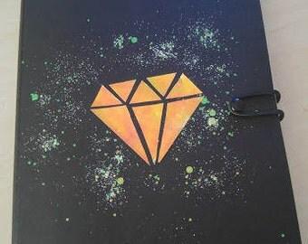 handmade iridescent diamond shape notebook