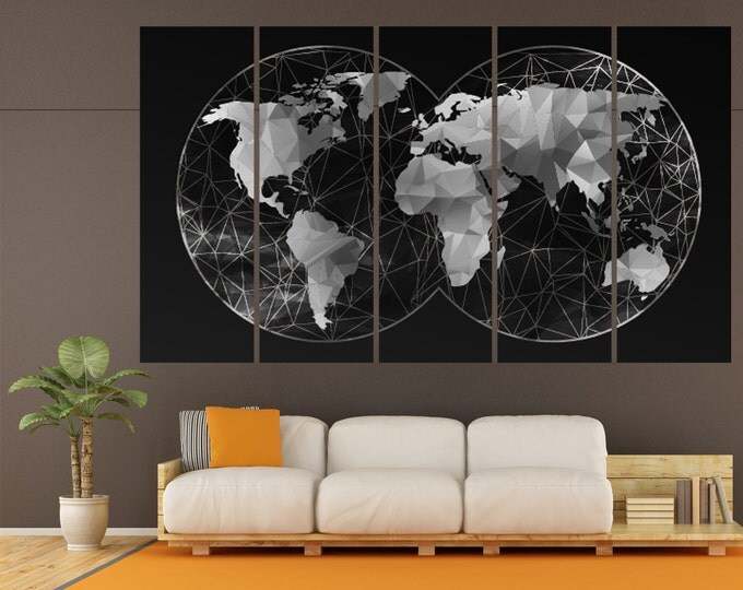 Double Hemisphere Black or White World Map Canvas Set, Abstract Wall Art Print \1,3,4 or 5 Panels on Canvas Wall Art for Home & Office Decor
