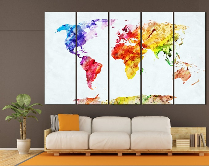Large Watercolor World Map Canvas Panels Set, Abstract World Map Print, / 1,3,4 or 5 Panels on Canvas Wall Art for Home & Office Decor