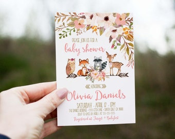 Woodland Baby Shower Invitation Girl, Deer Baby Shower Invites, Baby Shower  Invitations, Woodland