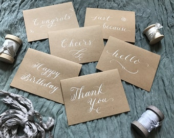 Calligraphy Greeting Cards (set of 5), Kraft Greeting Cards, Handmade Cards,