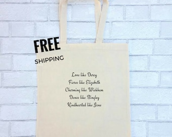 Pride and Prejudice Tote | Jane Austen Bennet Mr. Darcy Bingley Canvas Bag Purse Book Inspirational Quote FREE SHIPPING |  Elizabeth  Bennet