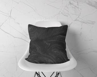 Marble Throw Pillow, Black Accent Pillow, Marble Pillow Case, Marble Pillow, Marble Cushion, Marble Decor, Marble Home Decor, Minimal Pillow