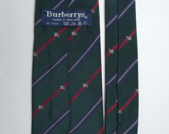 Tie green BURBERRY English rider silk Made in England