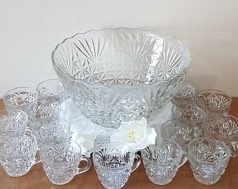 Vintage Crystal Glass Punch Bowl Set for 15~Crystal Bowls~Arlington Punch Bowl by Anchor Hocking~Anchor Hocking Glass Bowls~Punch Bowls