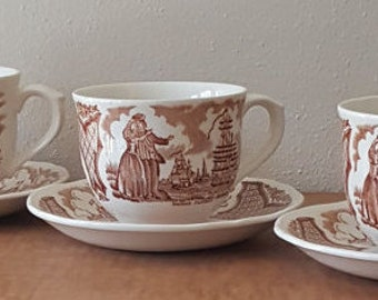 Staffordshire Fair Winds Set of 3 Cups & 3 Saucers by Alfred Meakin English Transferware of Historical Scenes of New York Harbor in 1830's