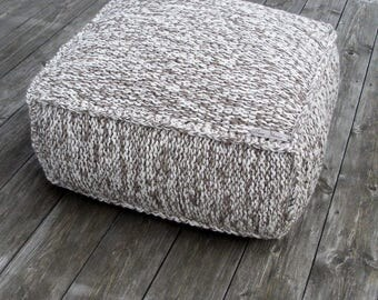MADE TO ORDER wool footstool-square crochet cushion-knit chair-knit ottoman-ottoman-organic pouf-pouf ottoman-ottoman-arm crochet knitting