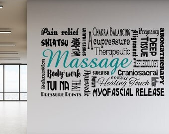 massage decal, decal for massage spa, massage spa wall art, massage spa decal, massage spa decor, massage therapy decal, massage therapy art