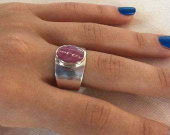 Ruby silver Ring, Pink ruby Ring, 925 Sterling ruby Ring, Silver ruby Ring, Ring size US 10, Oval ruby Ring, Ruby gemstone, Ruby pink ring,