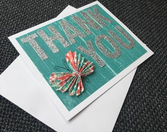 Glitter Butterfly Thank You Card