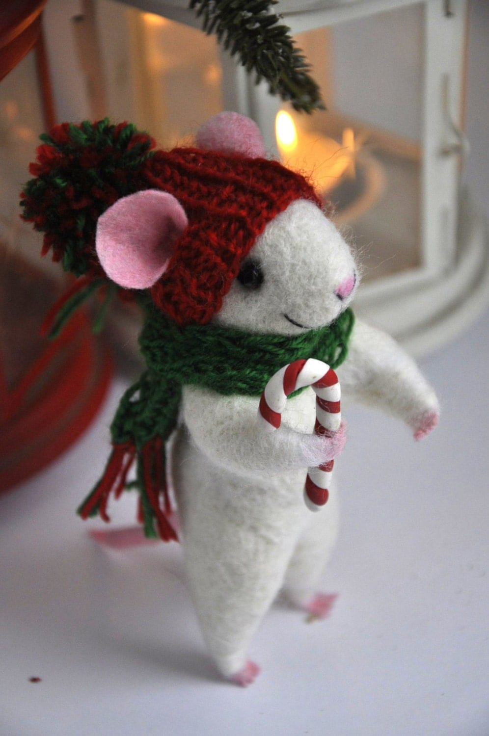 CHRISTMAS MOUSE felted mouse wool Christmas ornament by ...