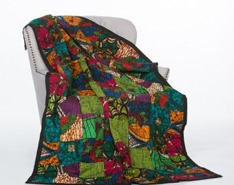 Quilt-African Wax Quilt-Kitenge Quilt-Patchwork Quilt-Handmade Quilt-Lightweight Quilt-Queen Size Quilt-Fair Trade-Confetti