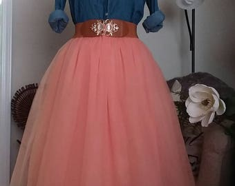 Free Shipping to USA Custom Made Adult Peach Tulle Skirt -for bridesmaid, photo prop
