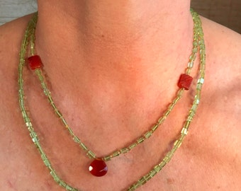 Step into Spring: Peridot Necklace  with Carnelian faceted and carved accent gemstones.