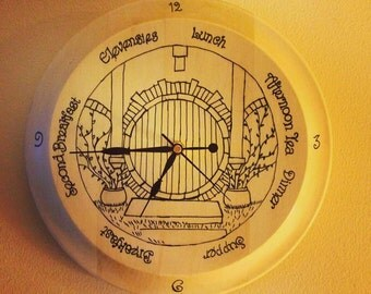 Hobbit Clock, Meal Times, Lord of the Rings Inspired, Tolkien, Natural Wood