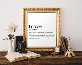 Travel Definition Print, Wall Art, Typography Print, Digital Art, Black and White, A4 Print, 8x10 Print, 11x14 Print, Definition Poster