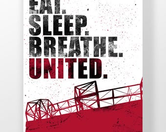 "Manchester United A3 Football Poster ""Eat. Sleep. Breathe. United."" Quote - With Paint - Football - Man United - Memorabilia (A3, A4 & 8x10)"