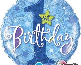 1st Birthday Boy Balloon- First Birthday Party- Baby Boy Balloon- Holographic Foil Balloon
