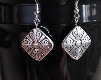 Square Silver Etched Detail Earrings, Square Earrings, Silver Earrings, Sun Earrings, Etched Earrings