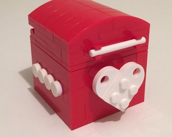 LEGO® mariage bague de mariage la Saint-Valentin bague de fiançailles proposition bague cadeau boîte - rouge & blanc