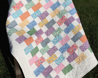 Baby quilt, 1930's fabrics, toddler quilt, lap quilt 100% cotton fabrics Quiltsy handmade