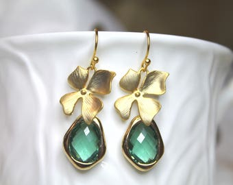 Gold Plated Orchid with Green Tourmaline , gold edged faceted glass Earings decoration Dangle Drop
