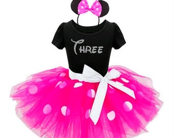 Third Birthday Minnie Mouse Birthday Outfit
