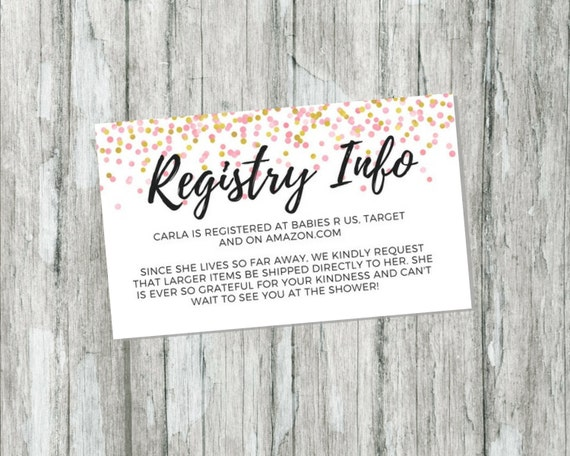 Shower Gift Registry Card Pink and Gold Baby Shower – Target Registry Cards for Invitations