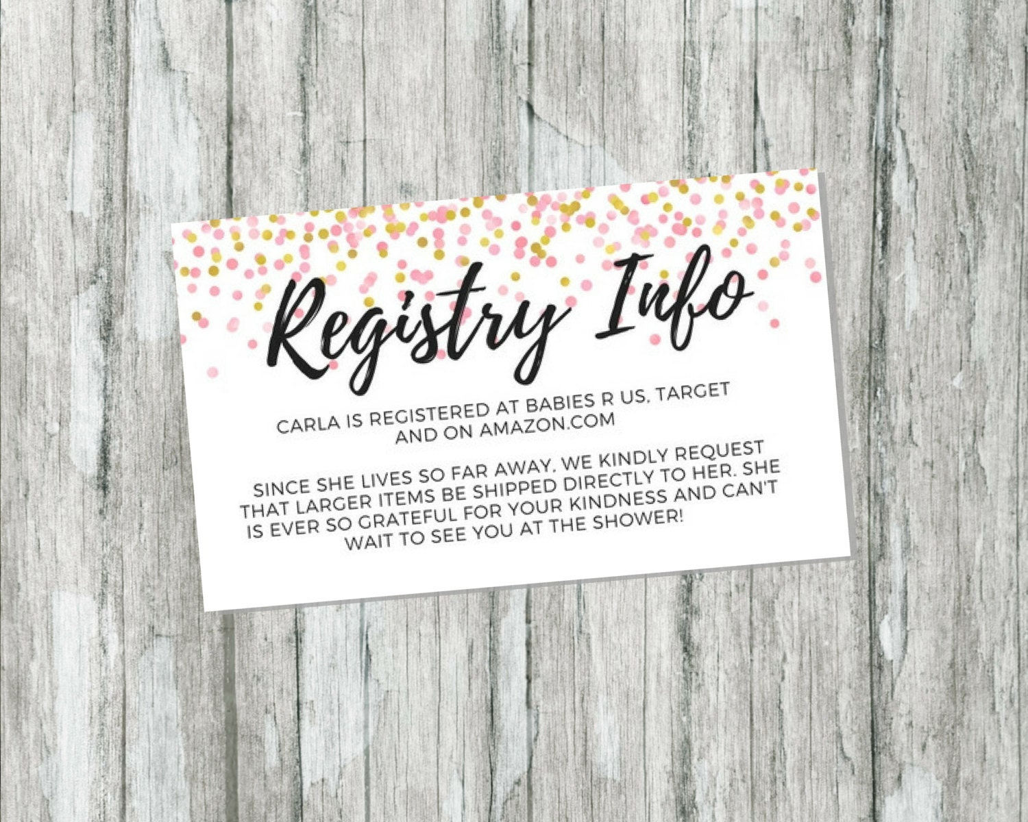 Wedding Gift Card Registry: Shower Gift Registry Card Pink And Gold Baby Shower