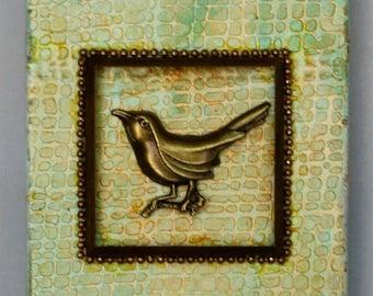 3D Bird Art - Original Wall Art - Mixed Media Bird Art - One of a Kind Bird Art - Found Object Art - 3D Collage - Assemblage Art on Canvas