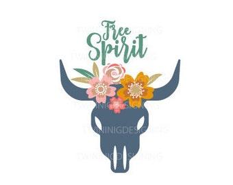 Free Spirit Boho skull flowers native SVG PNG DXF digital file
