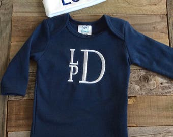 Monogram Baby Boy Gown- Navy Baby Gown- Baby Boy Take Home Outfit
