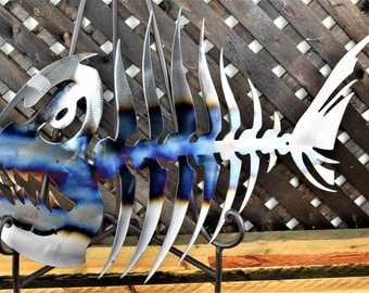 Metal wall art, metal fish art, blued metal art