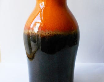 West German Mid Century Vase, Scheurich-Keramik, Flame Orange & Brown Glaze 1960s 1970s