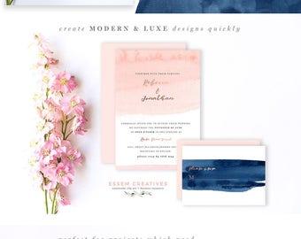 Blush and Navy Abstract Watercolor Border, Modern Pink Blue Nautical Invitation Background, Splash, Brush Strokes, Beach Clipart, Minimalist