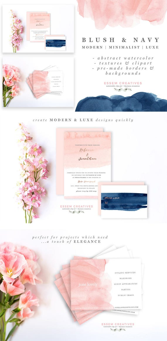 navy border art blush and navy abstract watercolor border modern pink blue