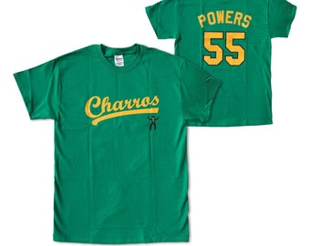 Kenny Powers T-shirt # 55 Charros Jersey Shirt As Worn In Eastbound & Down TV Show Baseball Team And Player Mexico Costume Adult Green
