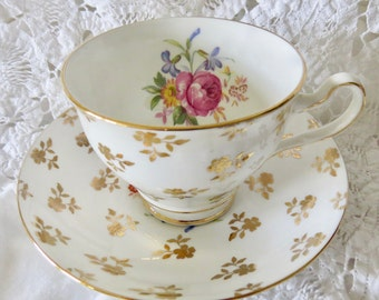 Clare Gold Flowers & Leaves Rose Floral Pattern Inside Bone China Teacup and Saucer 1950's Gift for Her