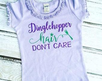 Mermaid Hair Shirt - Mermaid Shirt - Dinglehopper Hair Don't Care - Girl Mermaid Shirt - Dinglehopper Shirt - Mermaid Top - Girl Beach Shirt