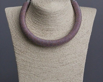 Necklace Crochet pink lilac necklace