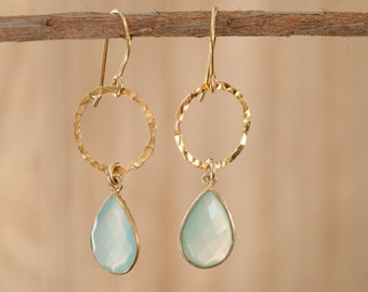 Dangle Gold Vermeil Earrings * Handmade Earrings * Gemstone * Aqua Chalcedony * Blue * Boho *BJE090