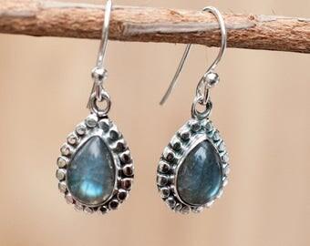 Labradorite Earrings * Dangle * Sterling Silver 925 * Gemstone * Handmade * Semi Precious Stone * Birthstone *February Birthstone BJE010