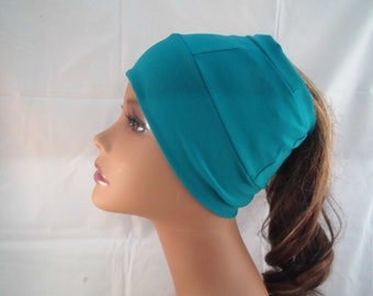 Teal spandex beanie with hole in top made to accommodate ponytails, natural hair,braids