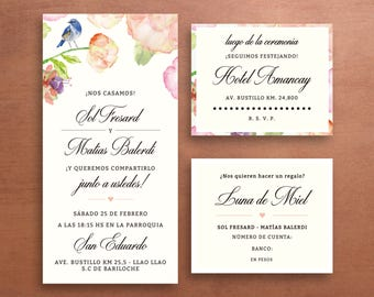 100 Floral wedding invitation Kits