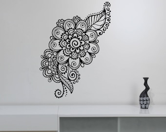 Mehndi Wall Sticker Henna Paisley Flowers Vinyl Decal Floral Pattern Ornament Art Decorations for Home Room Bedroom Indian Decor mh2