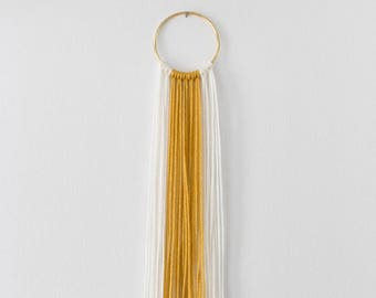 Small Ivory White + Mustard Yellow Modern Bohemian Yarn Wall Hanging